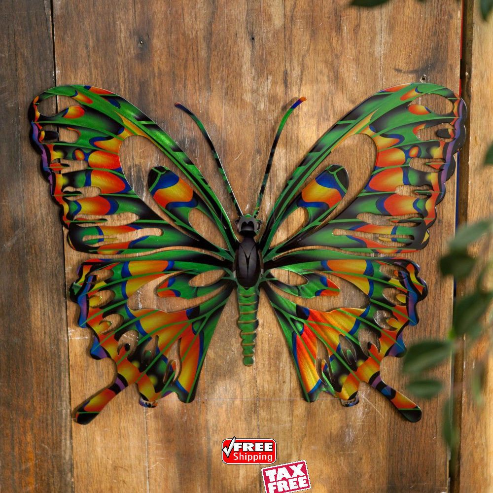 Metal sculpture butterfly wall art colorful steel hanging d home