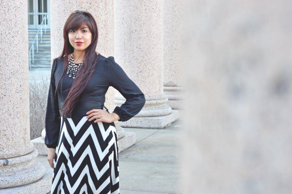 "Blogger Mekita Rivas models Dainty Jewell's ""Caught in a Dream"" chevron dress! #modest #fashion"