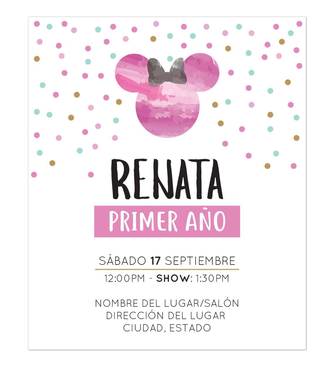 Invitación Cumpleaños Minnie Pink Invitaciones De