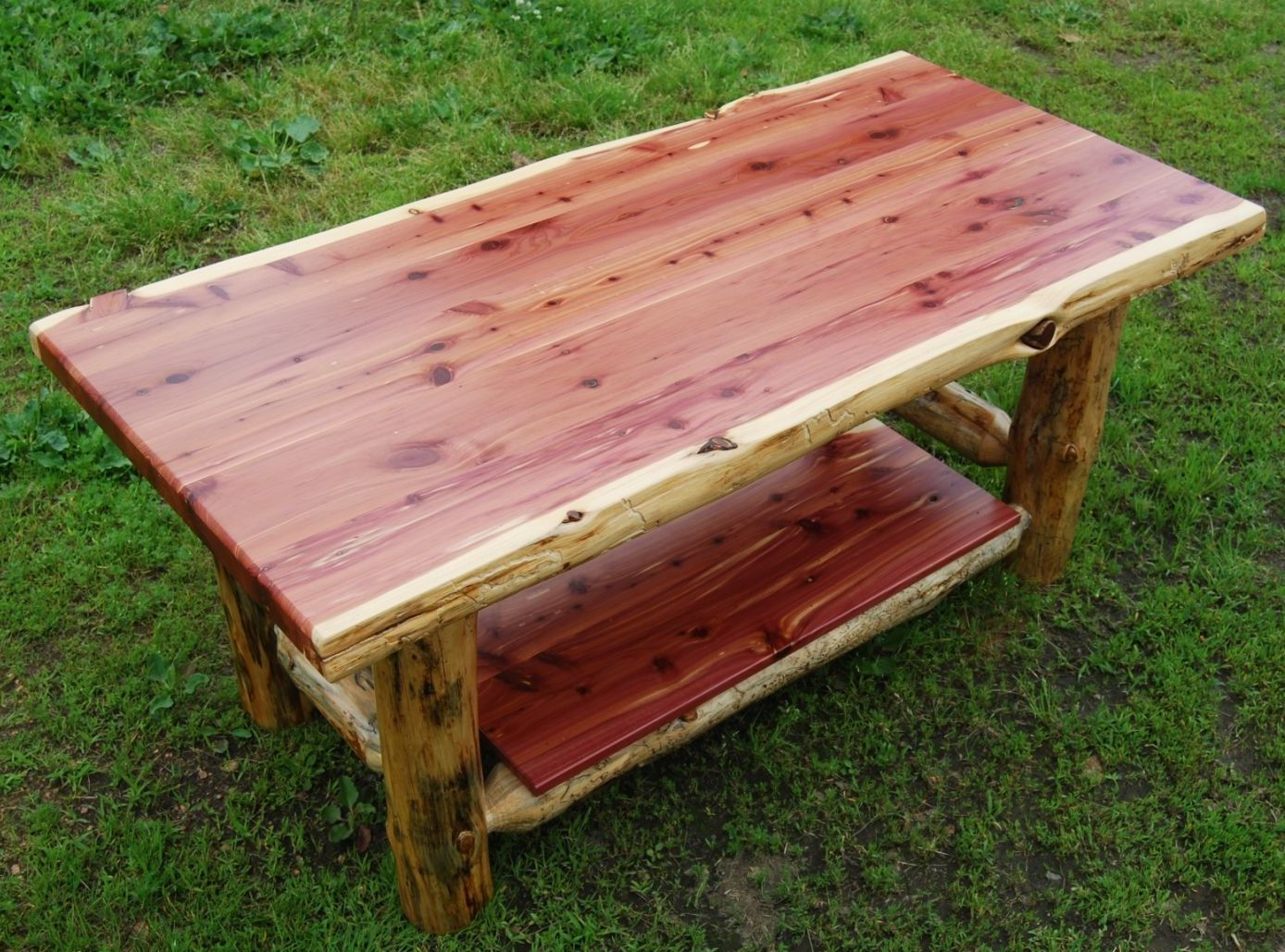 Rustic coffee tables unique and handmade from the log - Amish Made Rustic Red Cedar Coffee Table Available At Cabin Creations In Phillips