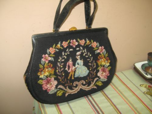 Vintage-Black-Handmade-Needlepoint-Purse-Handbag-9-034-x13-034-Courting-Scene-Victorian