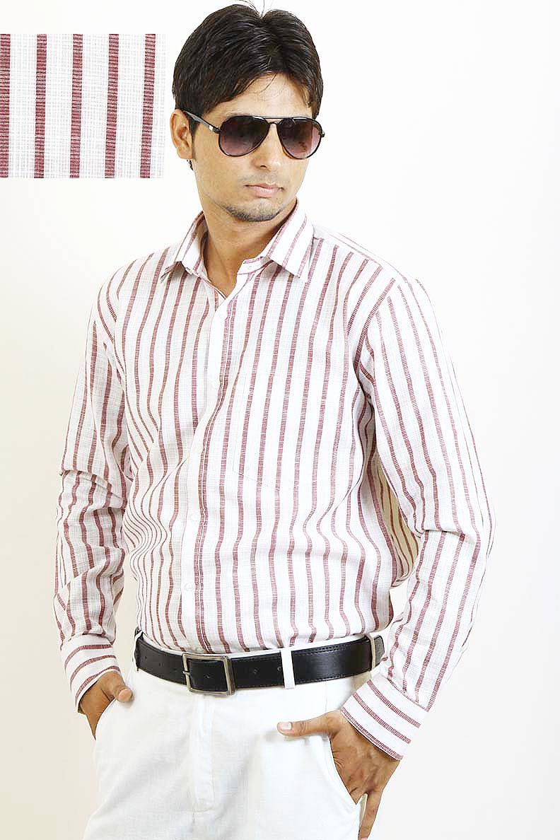 1b94417d Buy Brown Stripes Formal Shirt For Men Online in India | casual ...