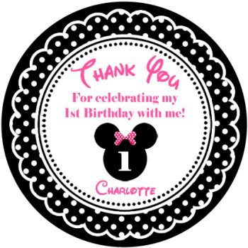Personalised minnie mouse in pink and black kids birthday party favours x 1 A4 Glossy Stickers Sheet