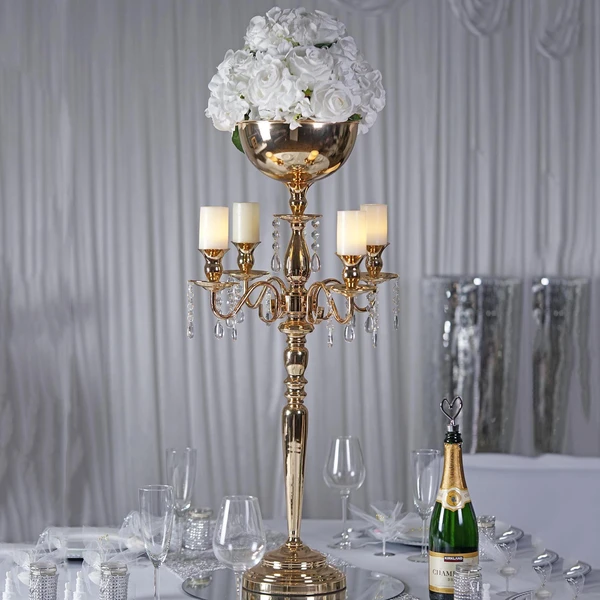 Godinger Silver Art Ribbed Nickel Plated 5 Light Candelabra With Hanging Crystal Drops