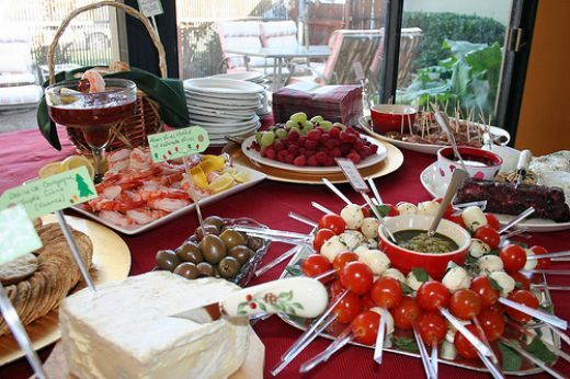 buffet table food display ideas party food on round buffet table photo courtesy by