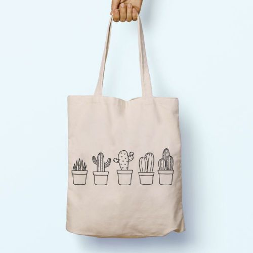 31f20ff5fa Canvas-Tote-Bag-Grocery-Shopper-Cactus-Plants-Tumblr-Carrying-Graphic- Handbag