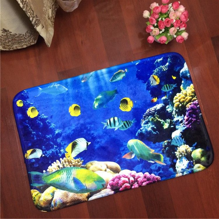 Wholesale Underwater World Carpet Cute Ocean Fish Coral Shell Flannel Carpet For Kids Room Non Slip Mat For B Blue Carpet Carpets For Kids Deeper Shade Of Blue