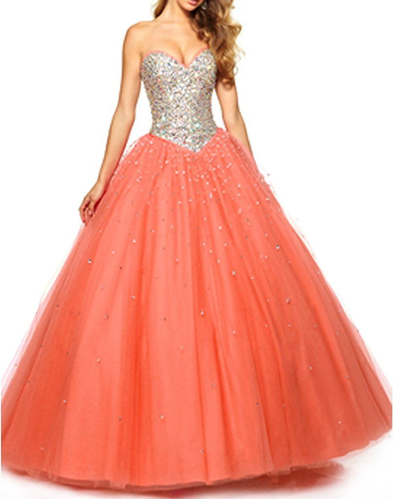 Zhu li ya womenus tulle crystal ball gown prom quinceanera dresses
