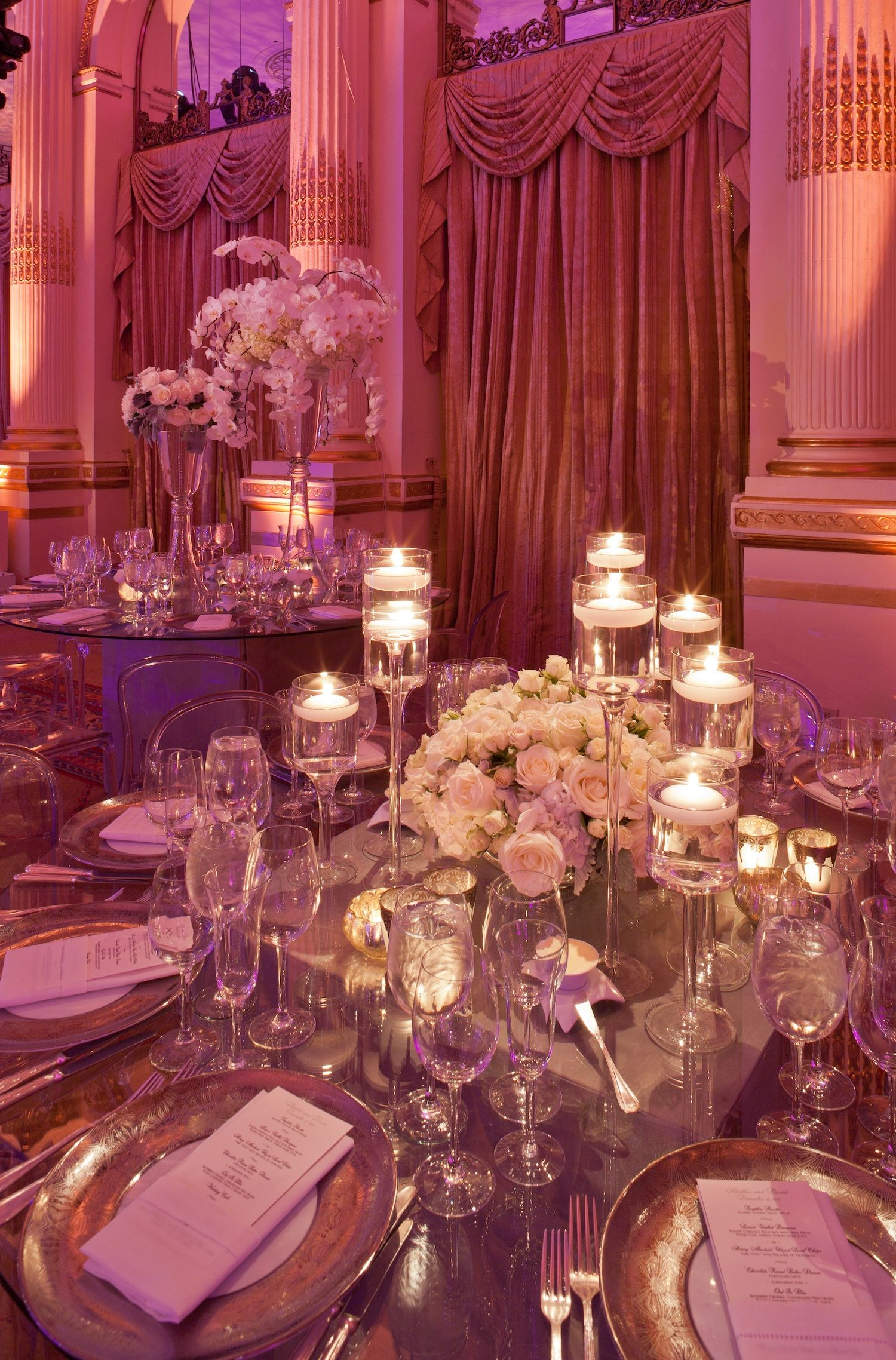 Wedding decoration ideas purple  Opulent New York City Wedding with Violet Lighting  Weddings
