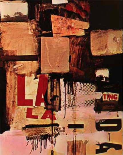 "Robert Rauschenberg, Thaw, 1958. Oil, printed paper, printed reproductions, map, and fabric on canvas, 501⁄4 ! 40"" (127.6 ! 10… 