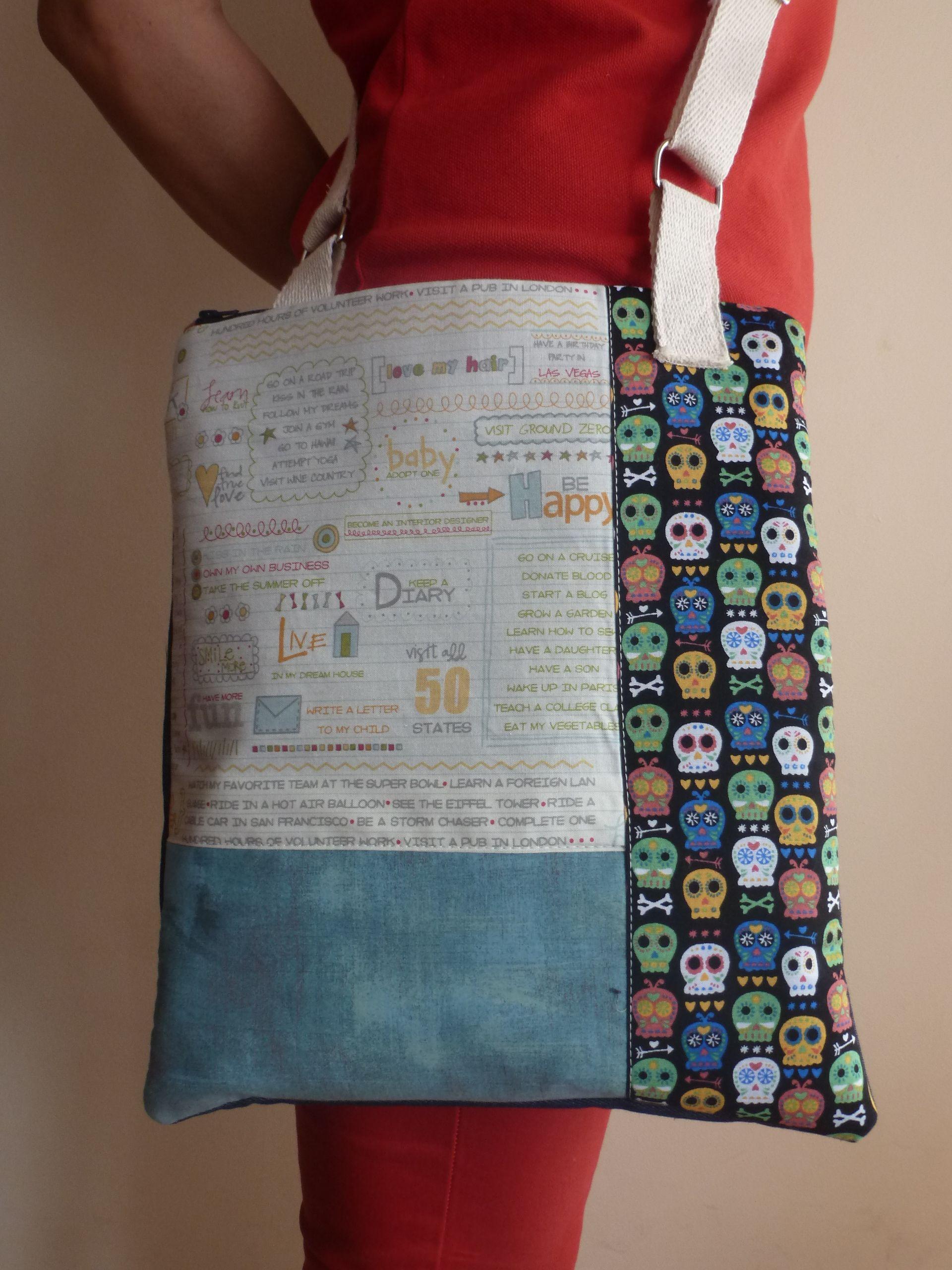 comprar popular ec36c 2749c Bolso hecho a mano con tela vaquera y telas de algodón muy ...