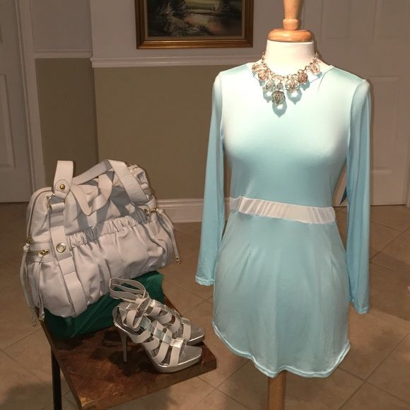 Dress Long sleeve turquoise colored mini dress with white sheer design in middle. Dress is thin and sheer, fitted and short. Necklace, shoes, and purse sold separately. No trades. Brass Candy Dresses Mini