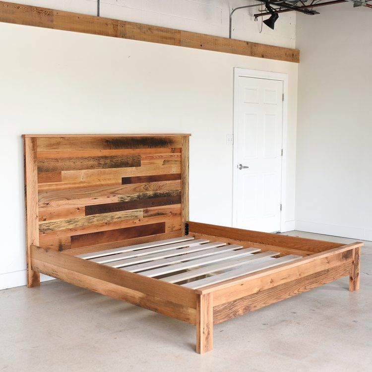 Warm Up Your Bedroom With Our Rustic Looking Reclaimed Wood Platform Bed Made From Old Growth Oak Maple An Wood Platform Bed How To Make Bed Rustic Bed Frame