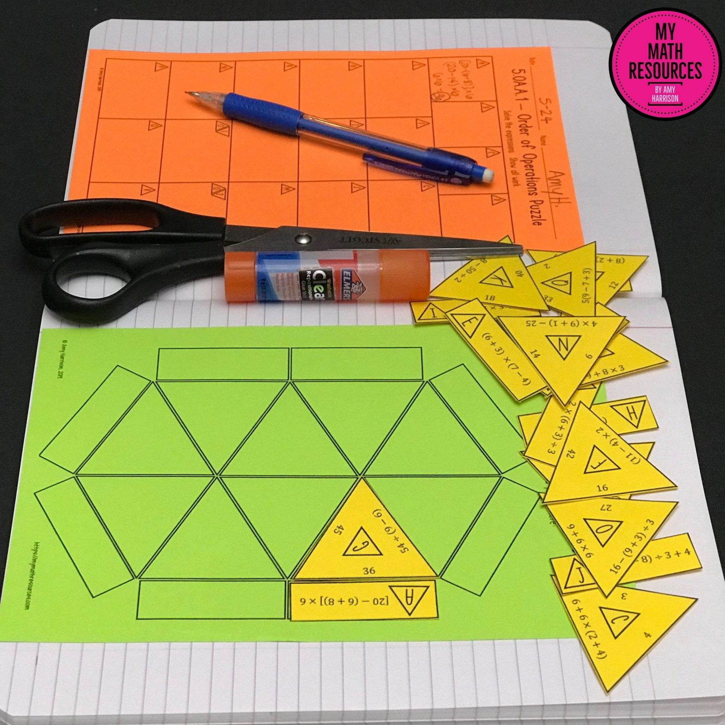 5th Grade Order Of Operations Triangle Puzzle Ccss 5 Oa