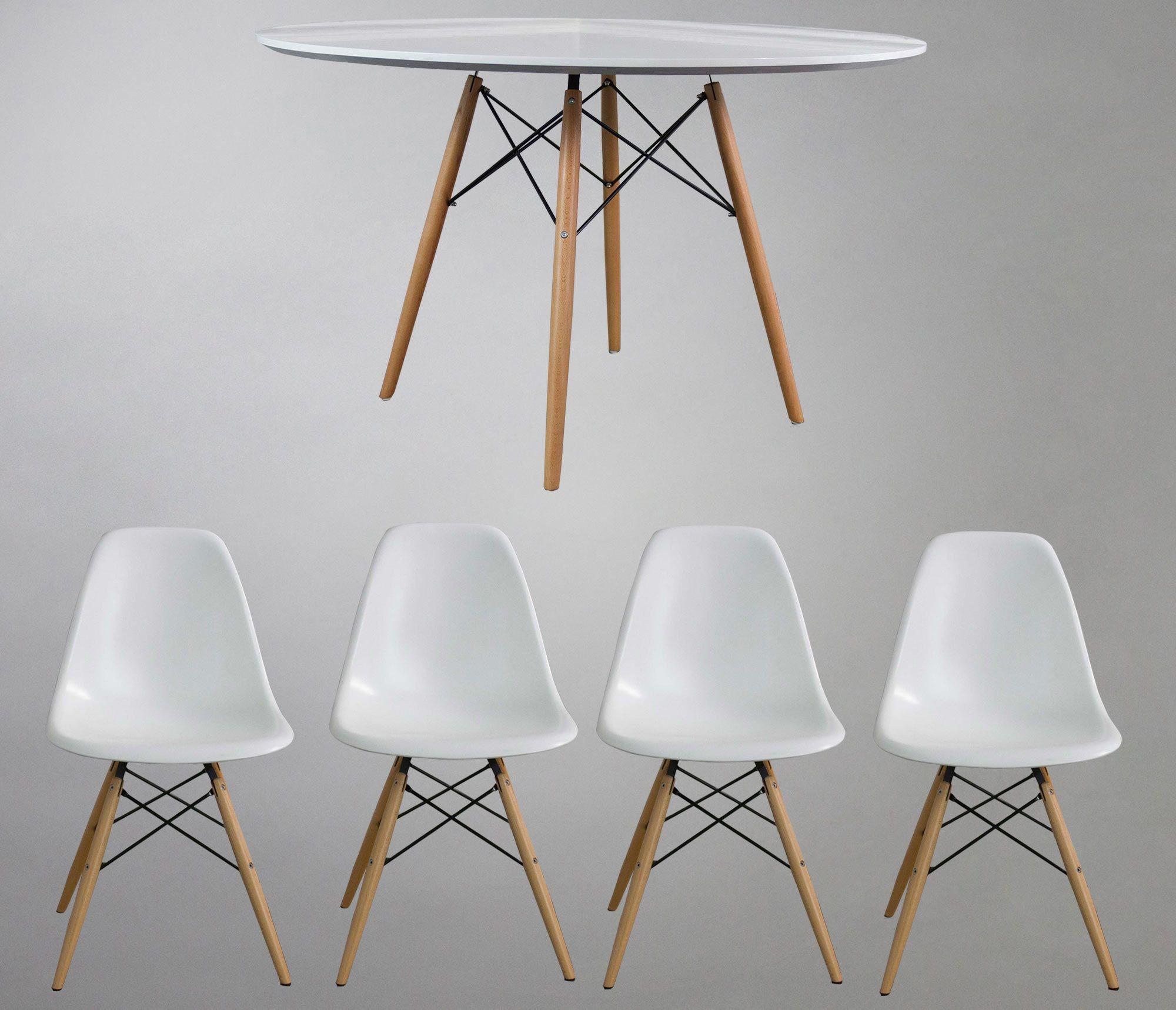 Set de 4 sillas replica eames con una mesa para amueblar for Sillas de madera modernas