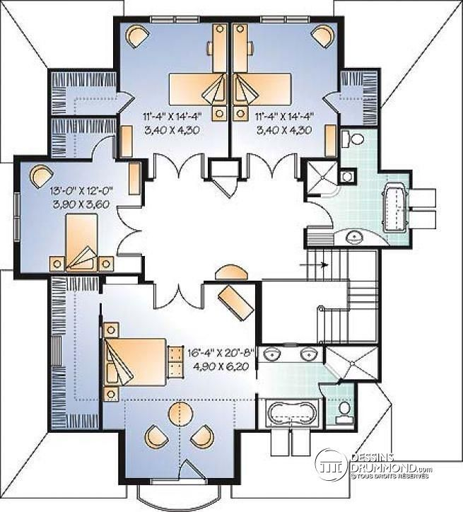 Plan De tage Maison  Chambres Avec Bureau Style Moderne Rustique