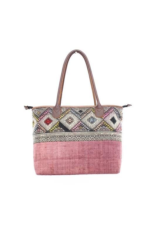 Este bolso se hace de cáñamo a mano vintage y un patrón de tela ...