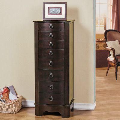 CTE Trading 7 Drawer Jewelry Armoire With Flip Top Mirror Finish: Brown