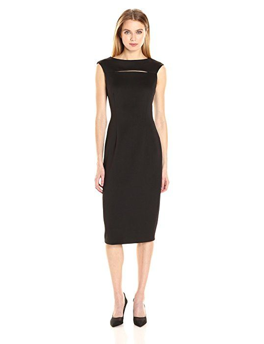 Calvin Klein Women's Cap Sleeve Sheath Midi Dress with Neck Cut Out, Black, 6