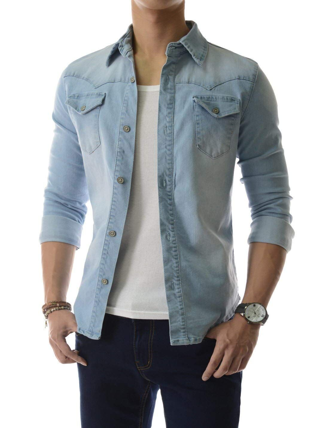 c635cd1d65 TheLees Slim Chest Two Pocket Vintage Washing Denim Long Sleeve Stretchy  Shirts