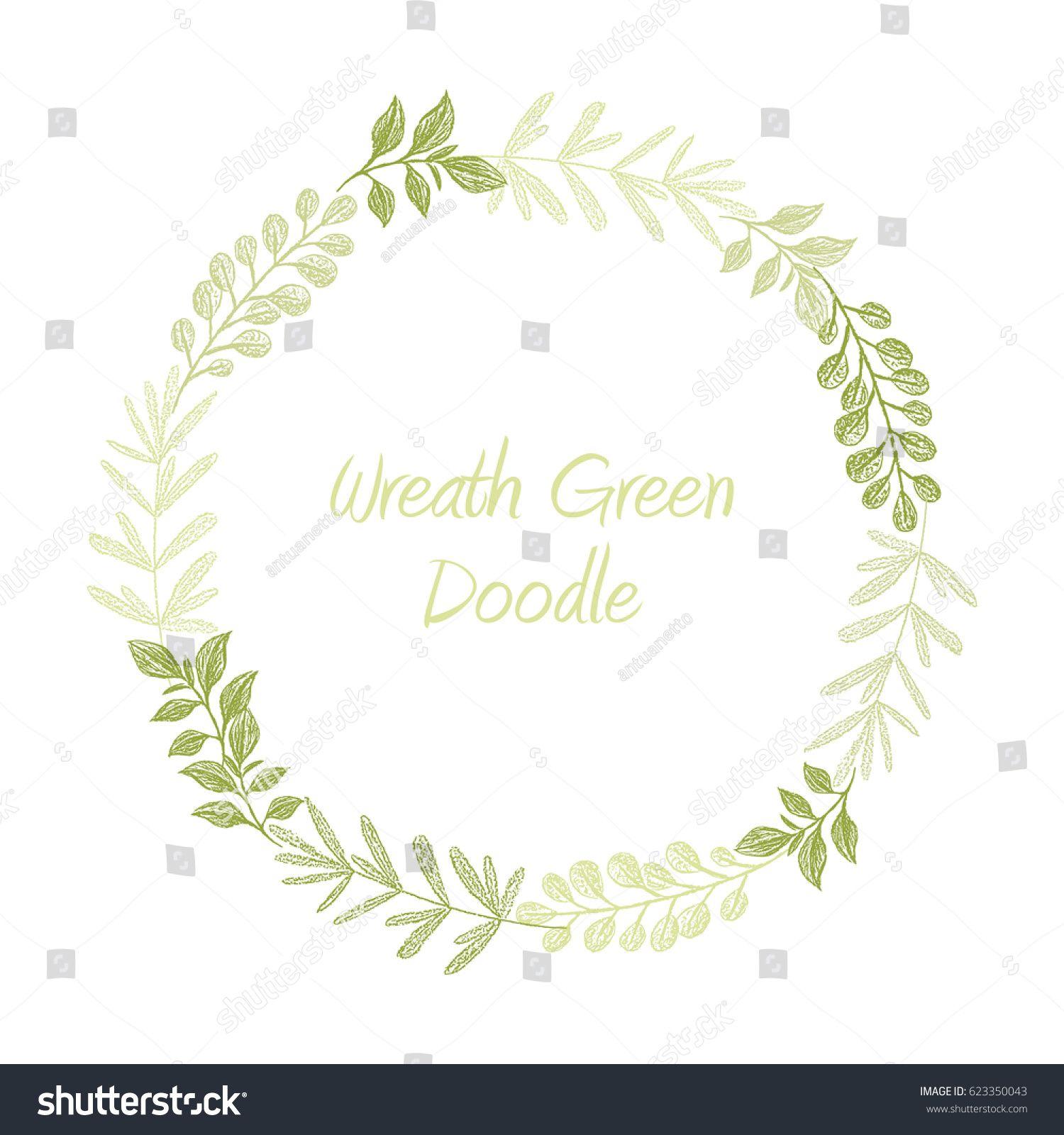 Green hand drawn leaves wreath vector greeting invitation or green hand drawn leaves wreath vector greeting invitation or wedding card template greenery stopboris Images