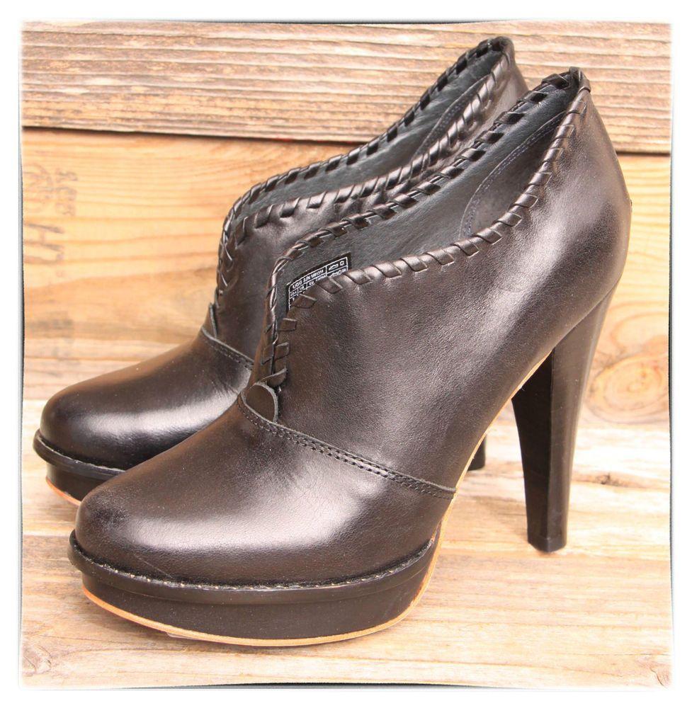 2a435ef826a UGG Australia Womens Jamison Bootie Black Platform Heels US 7 UK 5.5 ...