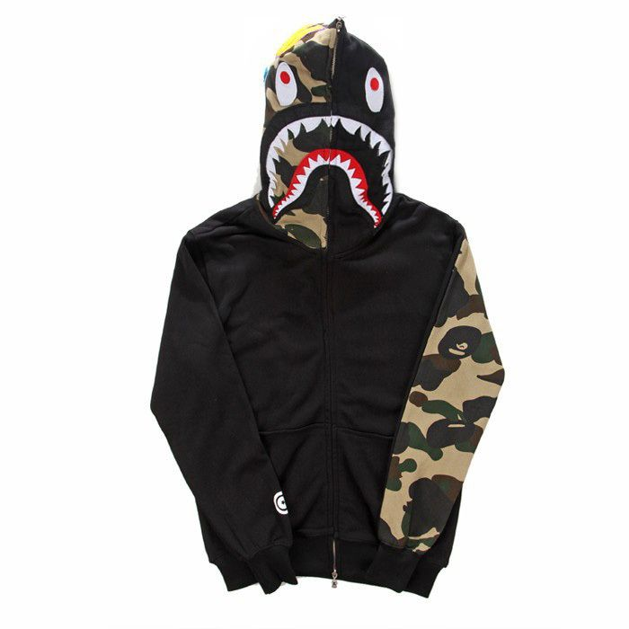 e52619f12c0a  Fashion brand  mens Clothing BAPE shark Hoodies lovers hoody Sweatshirts  jacket Autumn and Winter Black Gray Fleece hoody XY277