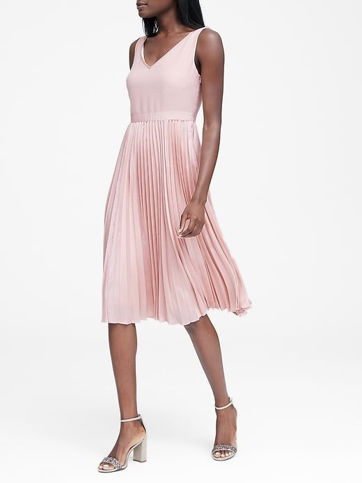 030ec988e501 Banana Republic Womens Petite Pleated Fit-And-Flare Dress Smoky Rose Pink