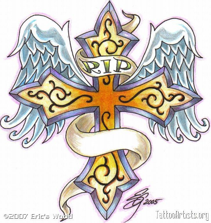 45 Sincere Rest In Peace Tattoo Ideas: RIP Cross Memorial Tattoo Design