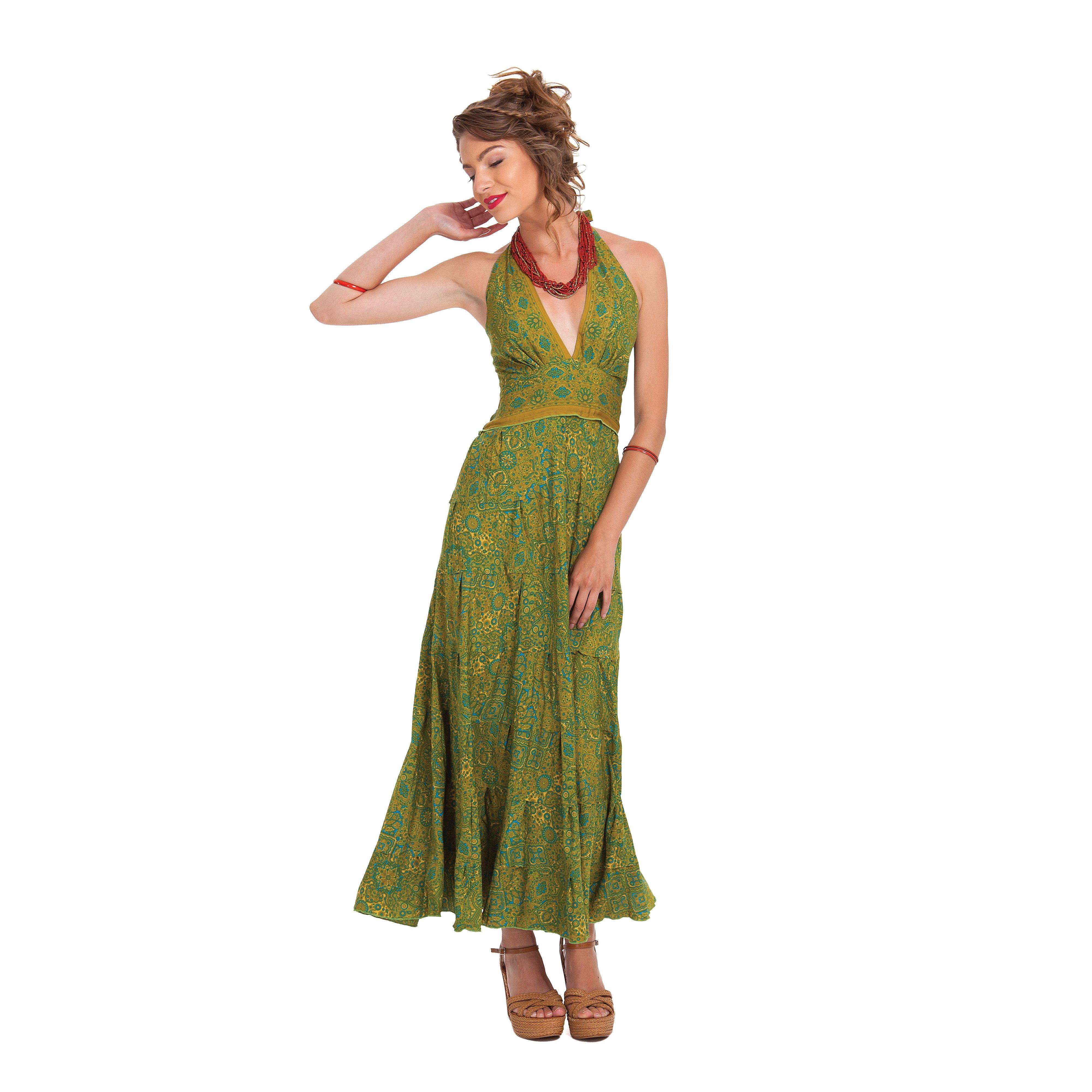 Robe Longue D Ete Verte A Tour De Cou Originale Et Coloree Lasmy Robe Longue Robe Cache Cou