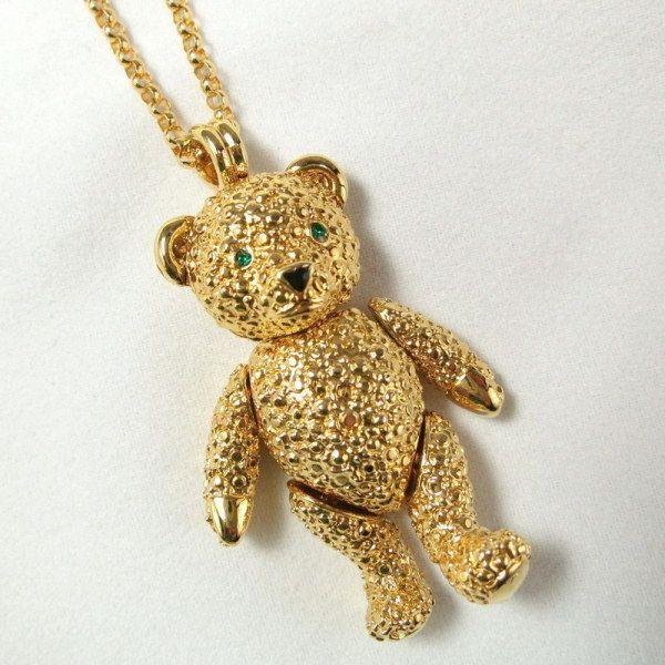 89218d464 Vintage Napier Teddy Bear Gold Tone Necklace | The Vintage Village ...