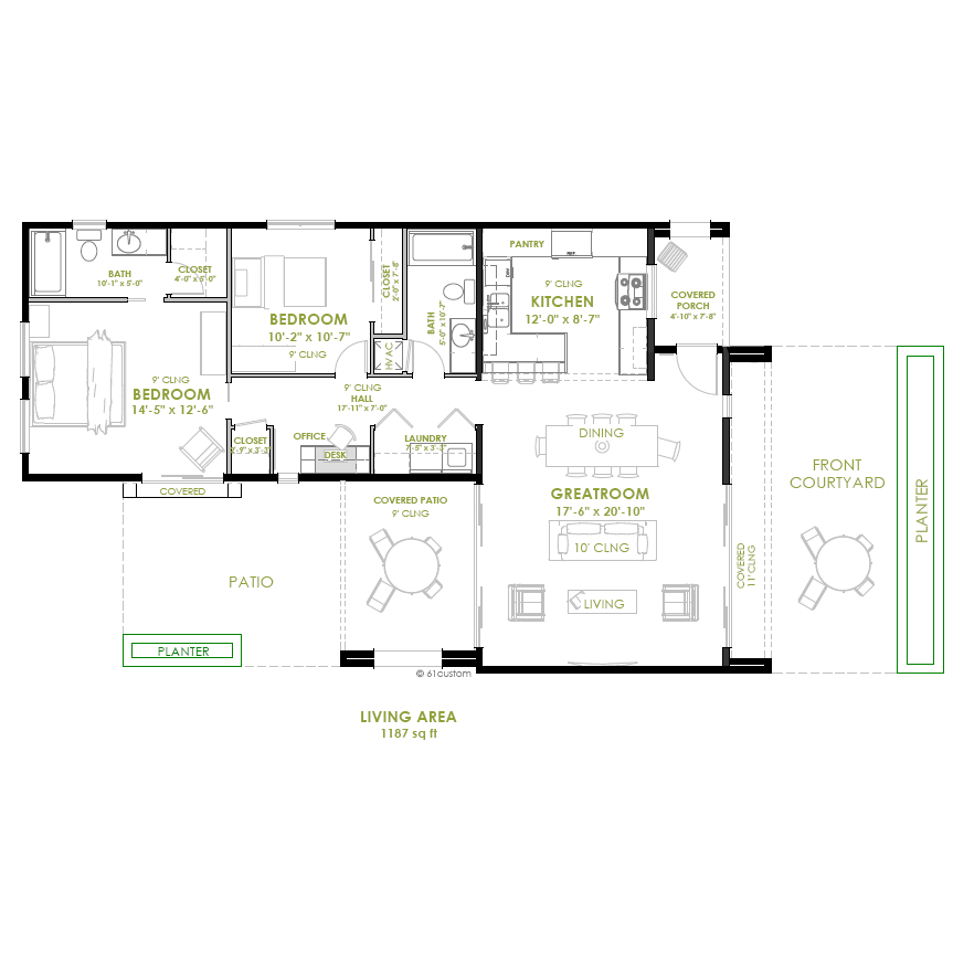 Modern 2 bedroom house plan bedrooms modern and house for Modern long house plans