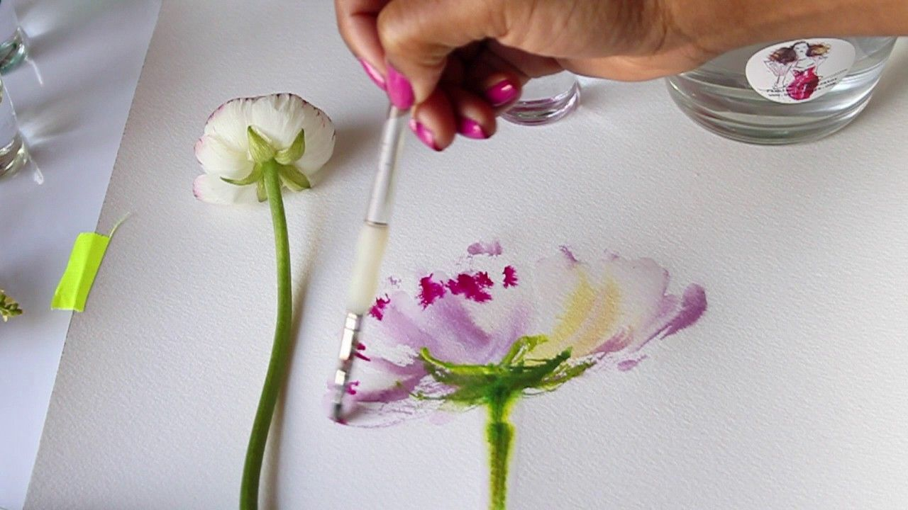 Watercolor Flower Tutorial Mixing Colors Wet To Wet Technique