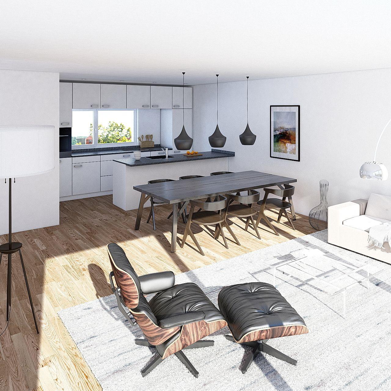 Für ein Wohnungsbauprojekt in der Schweiz hat LINK3D Architekturvisualisierung aus Freiburg diese Innenraumvisualisierung erstellt.