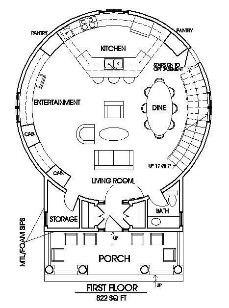 Like This Floor Plan The Staircase And The Front Porch Not So Keen On The Silo Structure Grain Bin House Silo House Round House Plans