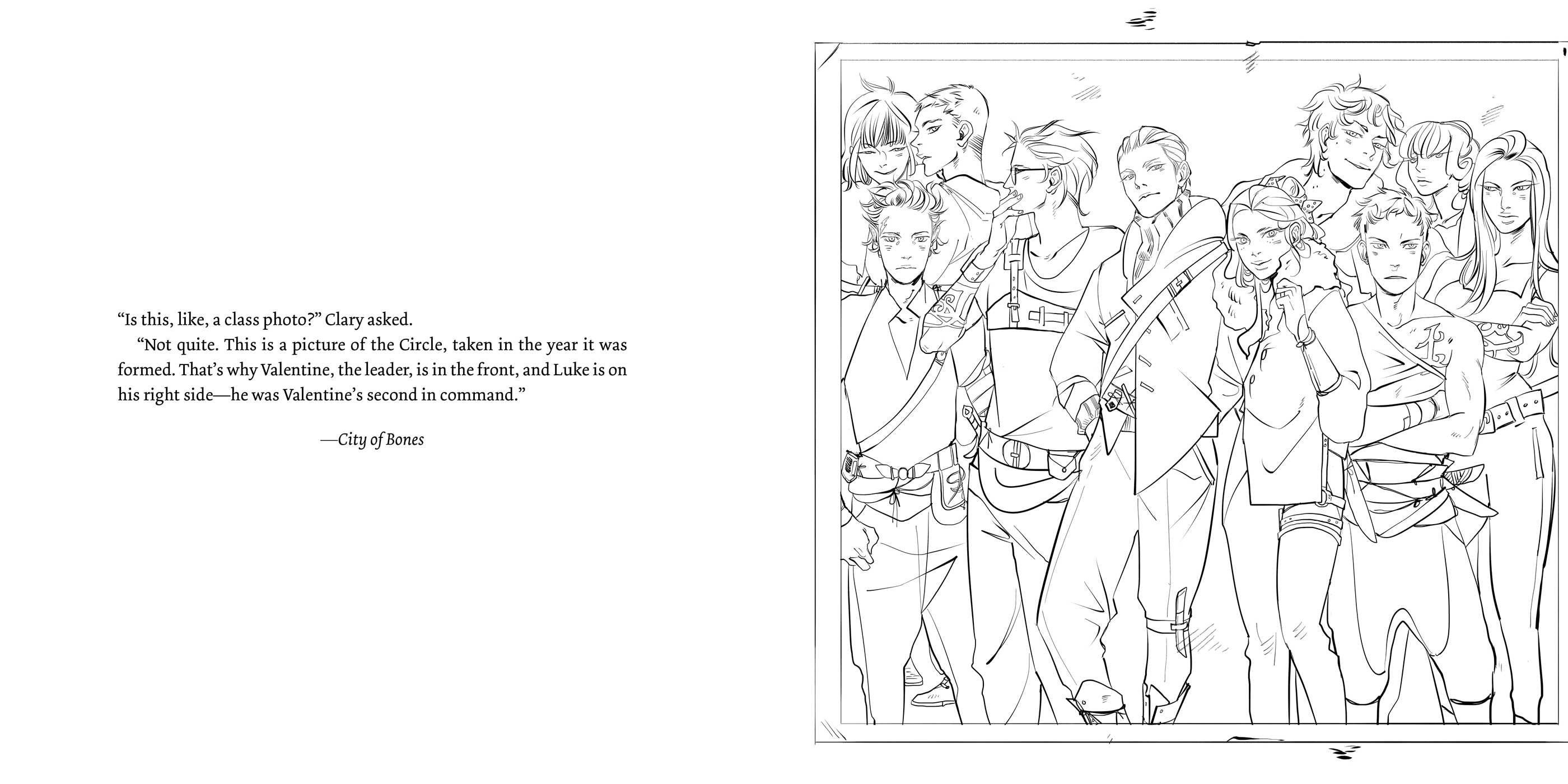 Page from the TMI colouring book the circle, the