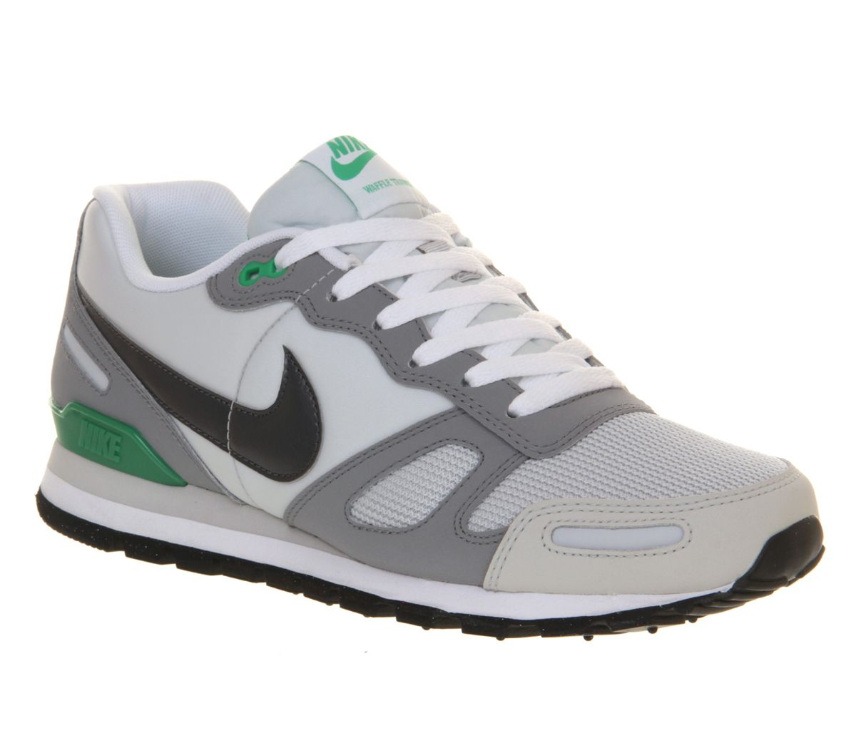 Nike Air Waffle Trainer Dark Grey White Green - His trainers ... a0672ec23