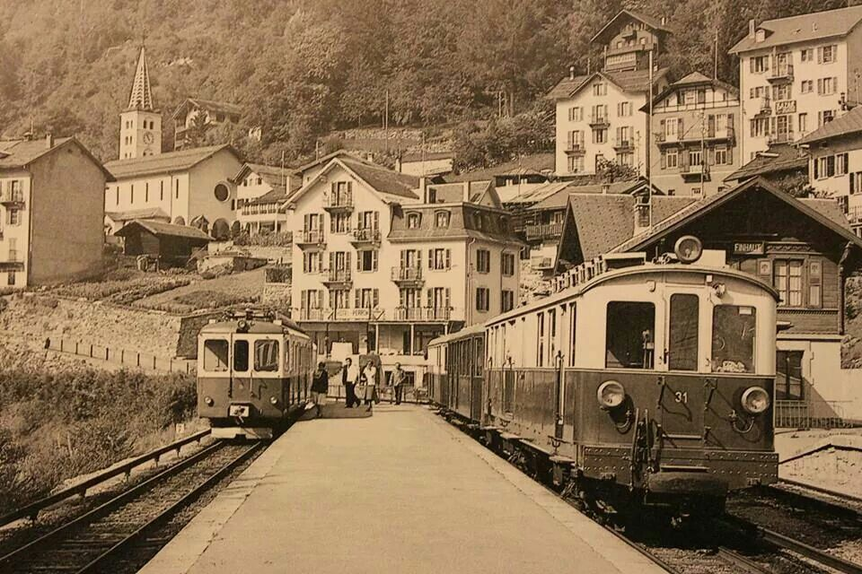 1950 FINHAUT STATION in Switzerland.Train between Martigny & Chamonix in France.Pinned by Steve .... Saved by the Grace of God