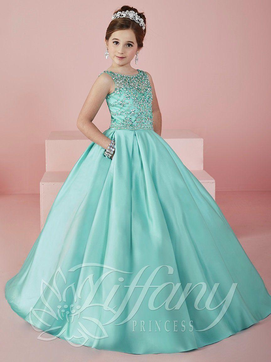 8477f30a6cdcd Girls Illusion Satin Ball Gown by Tiffany Princess 13472 | B-39 ...