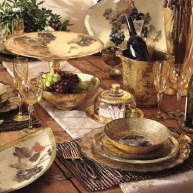 Old World Tuscan Dinnerware Grapes Vineyard Reflects The
