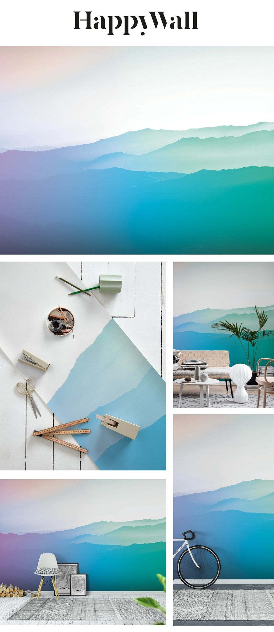 Gradient mountains Wall mural in 2020 Wall murals