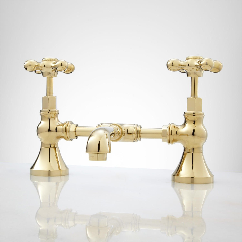 Monroe Bridge Bathroom Faucet - Cross Handles | Faucet, Bathroom ...