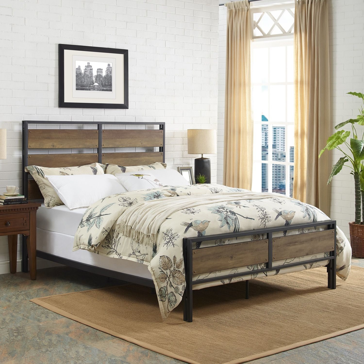 Rustic oak metal u wood plank queen bed products by pier imports