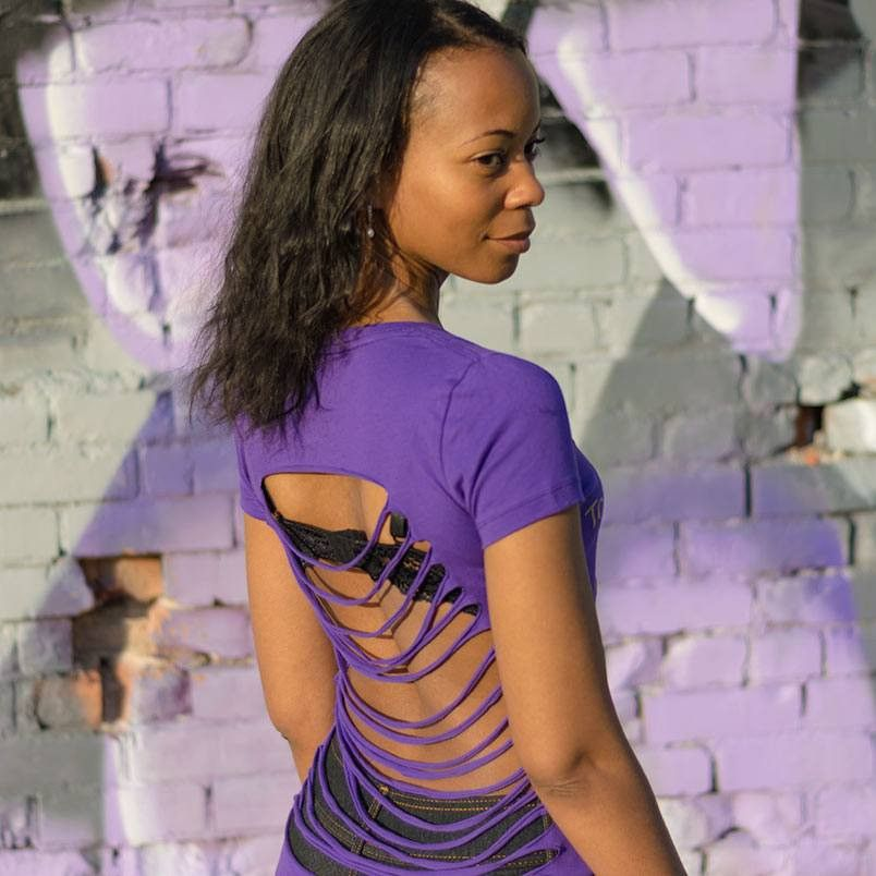 da38ca24 Gold To Haters With Love Distressed Purple V-Neck T-Shirt   To ...
