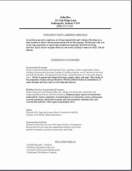 Construction Foreman Resume3 Resume1