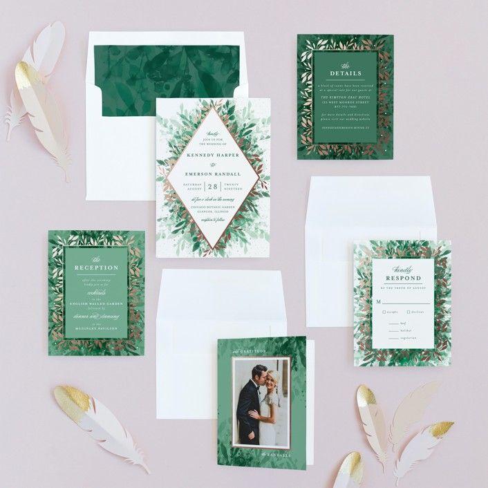 Bokeh Flowers Wedding: Wedding Invitations, Foil Stamped