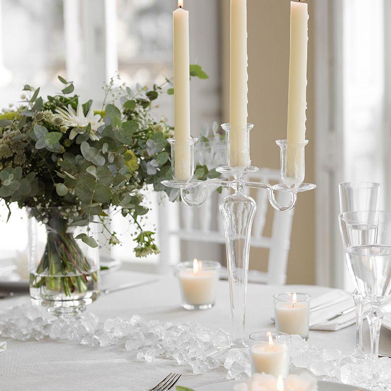 Porta velas candelabro de cristal para eventos y for Decoracion de velas