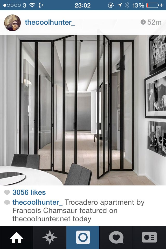 Awesome room divider - black led lined glass folding doors via the ...