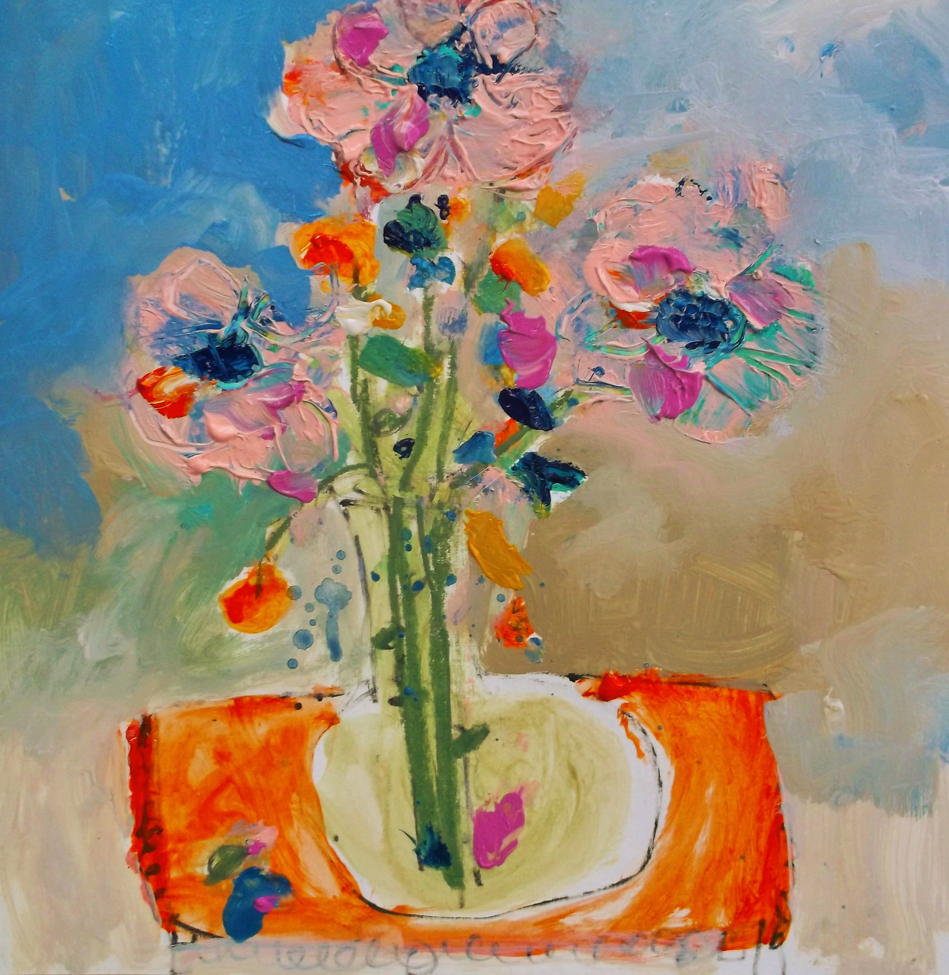 flowers on orange table 12x12 paper wendy mcwilliams