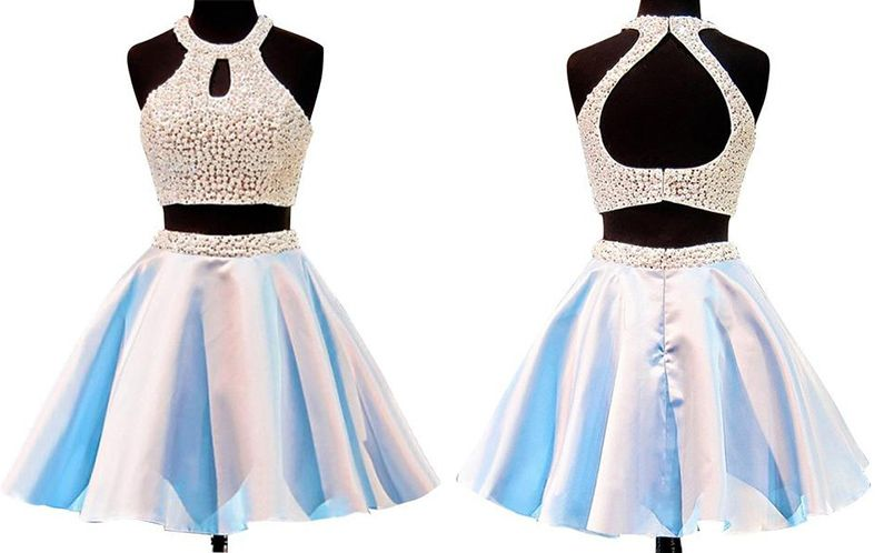 Simple Two Piece Short Jewel Blue Homecoming Dress Beaded Pearls